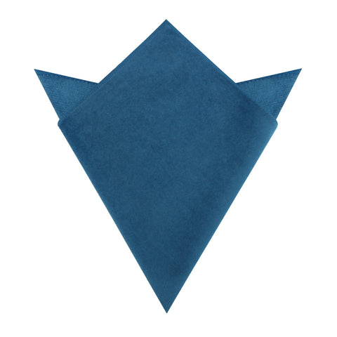 Teal Blue Velvet Pocket Square
