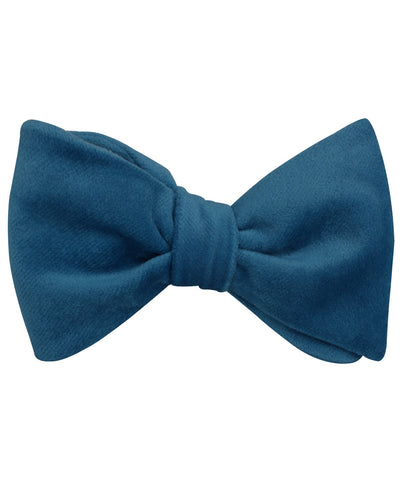 Teal Blue Velvet Self Bow Tie