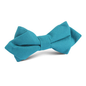 Teal Slub Linen Diamond Bow Tie