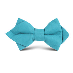 Teal Slub Linen Kids Diamond Bow Tie