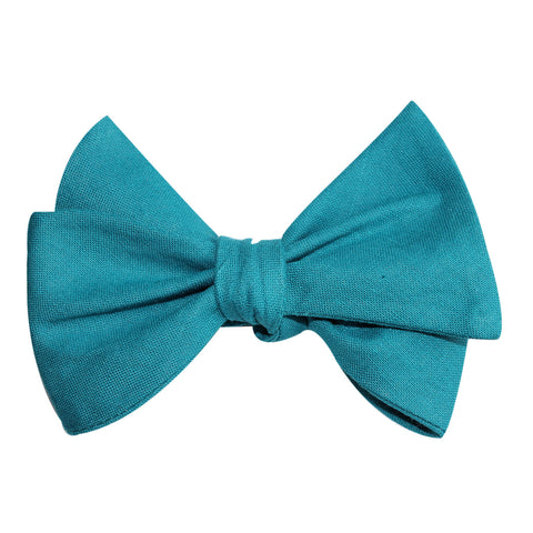 Teal Slub Linen Self Tie Bow Tie