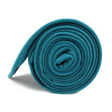 Teal Slub Linen Skinny Tie Side Roll