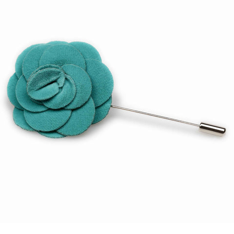 Teal Velvet Lapel Flower