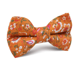 Terracotta Orange Floral Kids Bow Tie