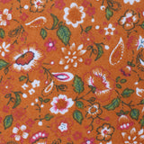 Terracotta Orange Floral Self Bow Tie Fabric