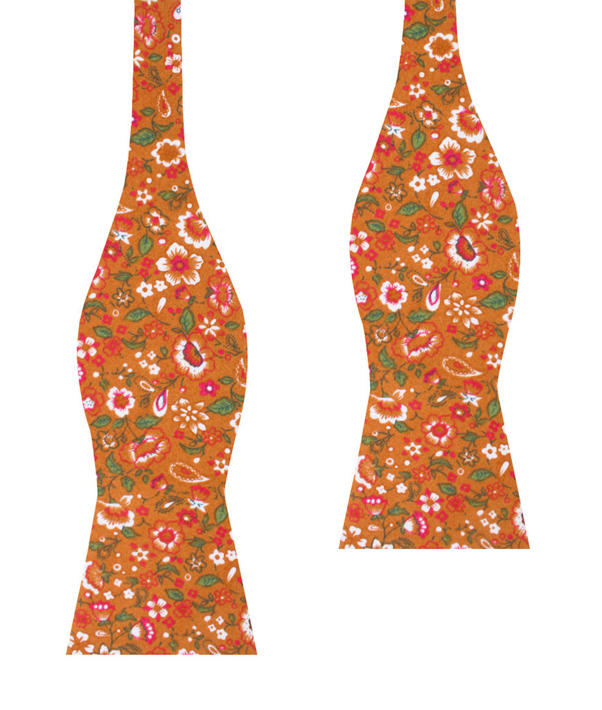 Terracotta Orange Floral Self Bow Tie