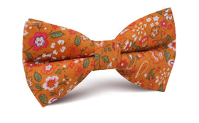 Terracotta Orange Floral Bow Tie