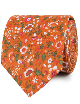 Terracotta Orange Floral Necktie