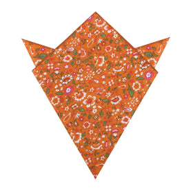 Terracotta Orange Floral Pocket Square