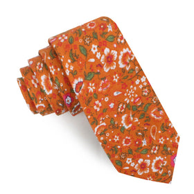 Terracotta Orange Floral Skinny Tie