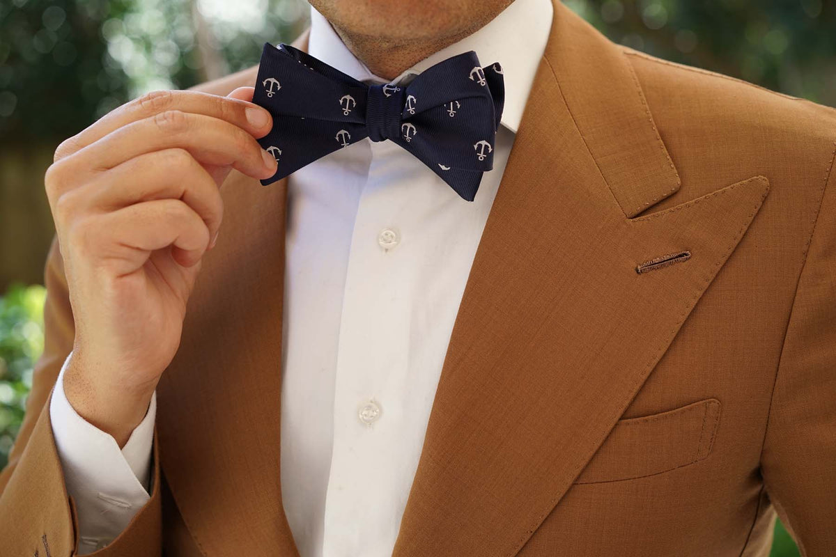 The OTAA Navy Blue Anchor Self Tie Bow Tie