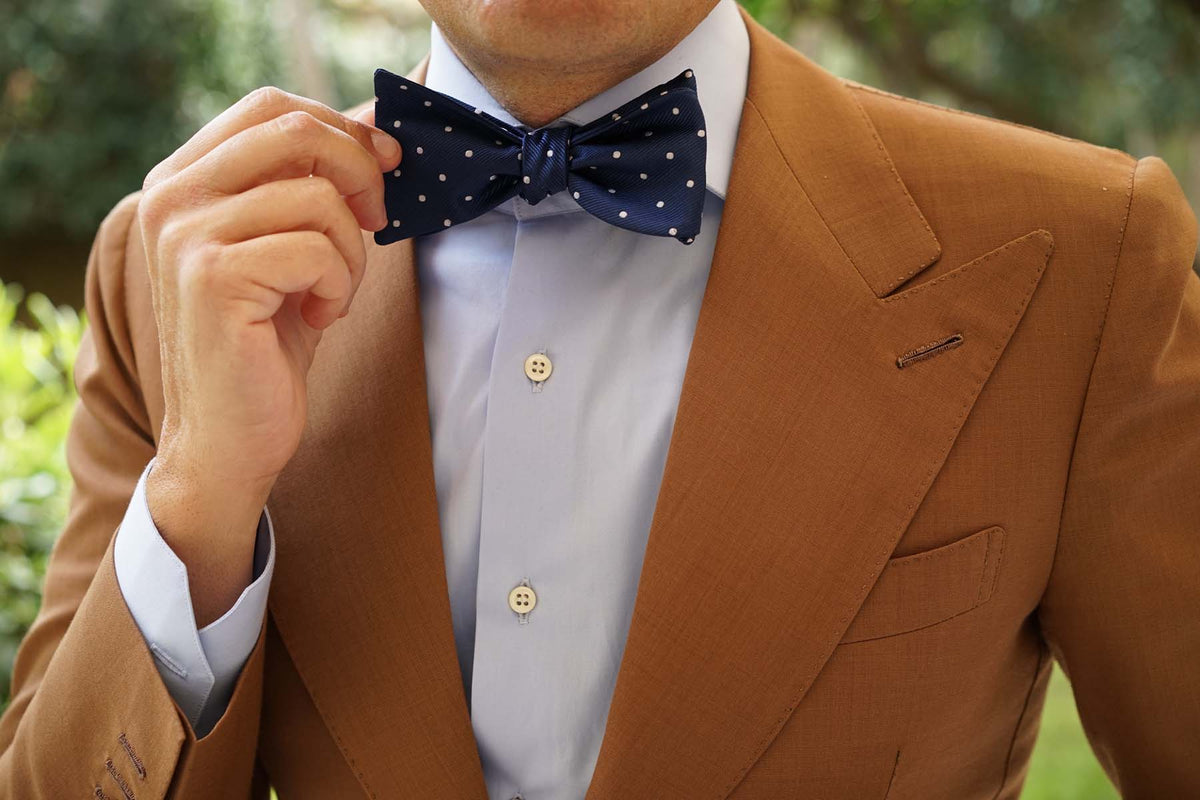 The OTAA Navy Blue with White Polka Dots Self Tie Bow Tie