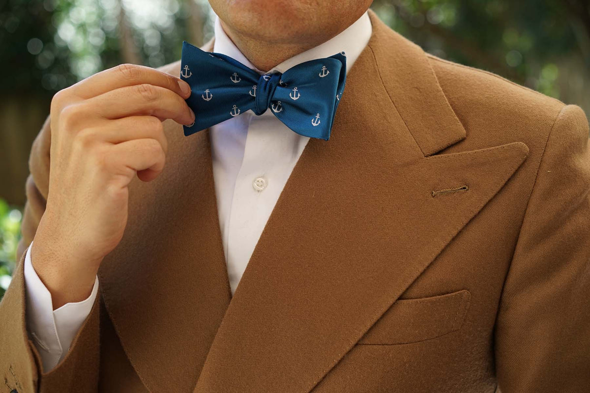 The OTAA Teal Blue Anchor Self Tie Bow Tie