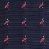 The Navy Blue Pink Flamingo Fabric Bow Tie M107