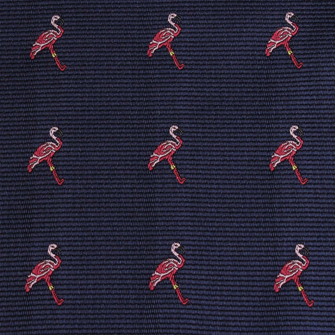 The Navy Blue Pink Flamingo Bow Tie