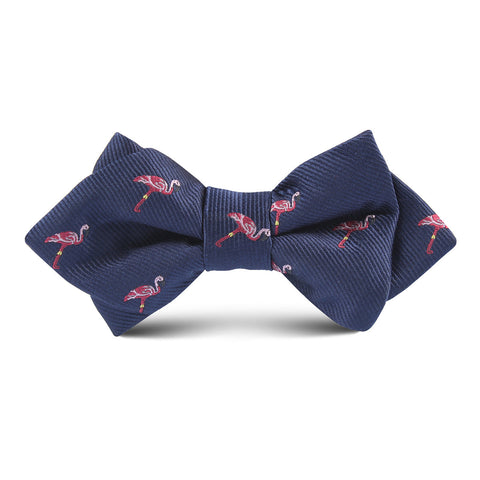 The Navy Blue Pink Flamingo Kids Diamond Bow Tie