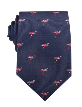 The Navy Blue Pink Flamingo Necktie