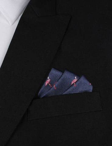 The Navy Blue Pink Flamingo Pocket Square