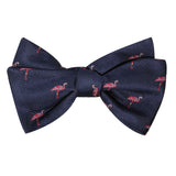 The Navy Blue Pink Flamingo Self Tie Bow Tie 1