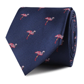The Navy Blue Pink Flamingo Skinny Tie