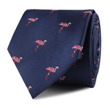 The Navy Blue Pink Flamingo Skinny Tie Front Roll