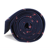 The Navy Blue Pink Flamingo Skinny Tie Side Roll