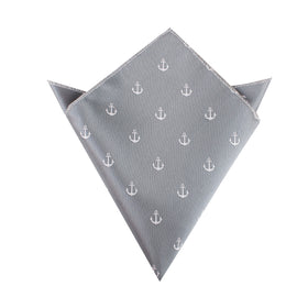 The OTAA Charcoal Grey Anchor Pocket Square