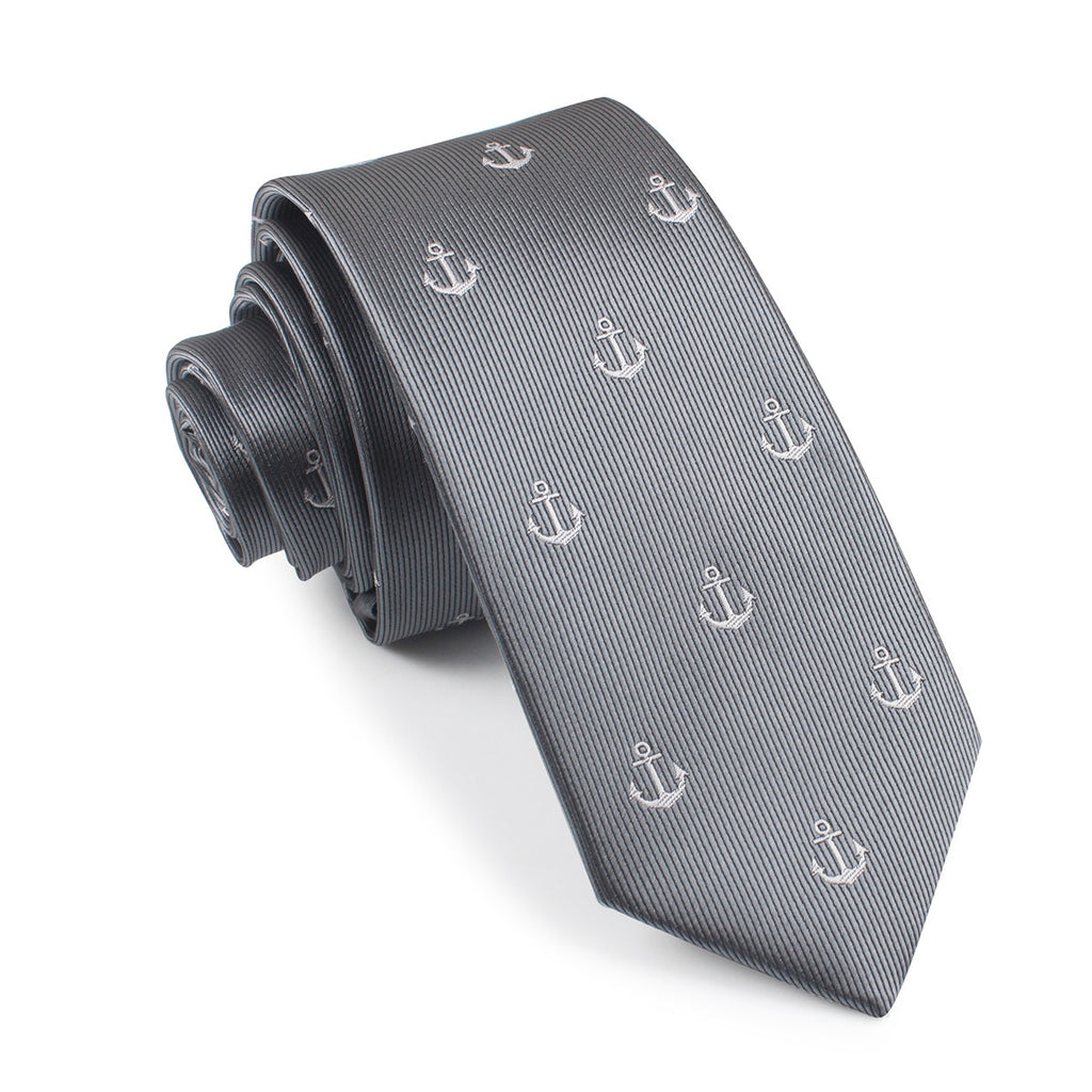 The OTAA Charcoal Grey Anchor Skinny Tie