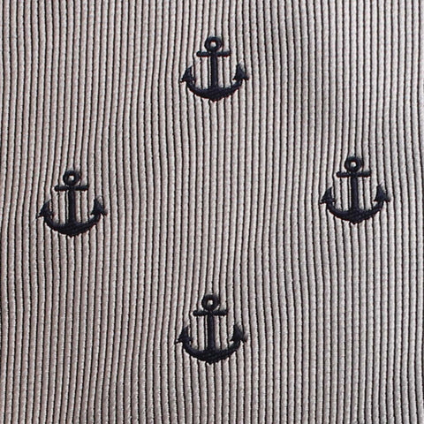 The OTAA Light Grey with Navy Blue Anchors Kids Bow Tie