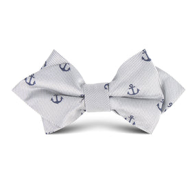 The OTAA Light Grey with Navy Blue Anchors Kids Diamond Bow Tie