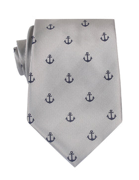 The OTAA Light Grey with Navy Blue Anchors Necktie