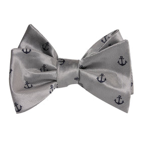 The OTAA Light Grey with Navy Blue Anchors Self Tie Bow Tie