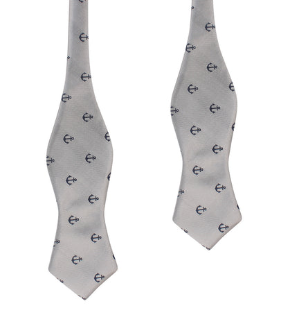 The OTAA Light Grey with Navy Blue Anchors Self Tie Diamond Tip Bow Tie