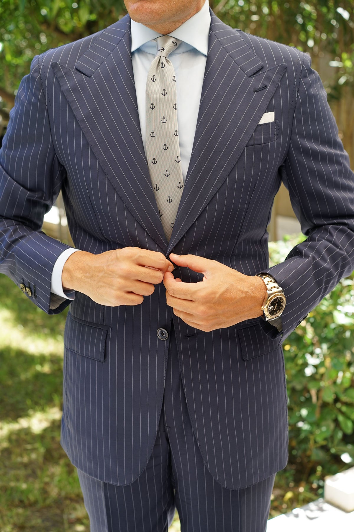 The OTAA Light Grey with Navy Blue Anchors Skinny Tie