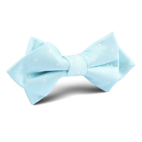 The OTAA Mint Blue with White Polka Dots Diamond Bow Tie
