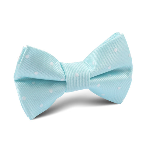 The OTAA Mint Blue with White Polka Dots Kids Bow Tie
