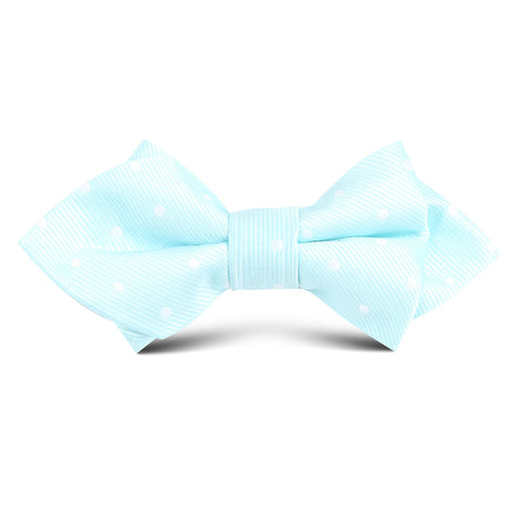 The OTAA Mint Blue with White Polka Dots Kids Diamond Bow Tie