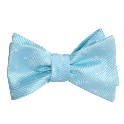 The OTAA Mint Blue with White Polka Dots Self Tie Bow Tie