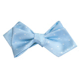 Mint Blue with White Polka Dots Self Tie Diamond Tip Bow Tie 3