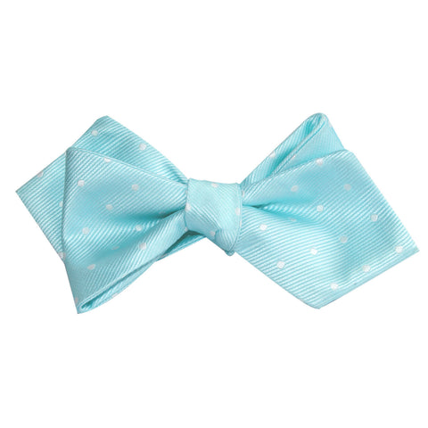 Mint Green with White Polka Dots Self Tie Diamond Tip Bow Tie