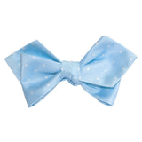 Mint Blue with White Polka Dots Self Tie Diamond Tip Bow Tie 1