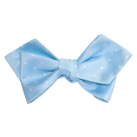 Mint Blue with White Polka Dots Self Tie Diamond Tip Bow Tie