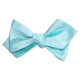 Mint Green with White Polka Dots Self Tie Diamond Tip Bow Tie 3