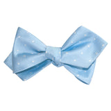 Mint Blue with White Polka Dots Self Tie Diamond Tip Bow Tie 2