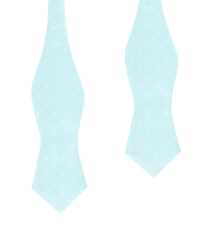 The OTAA Mint Blue with White Polka Dots Self Tie Diamond Tip Bow Tie