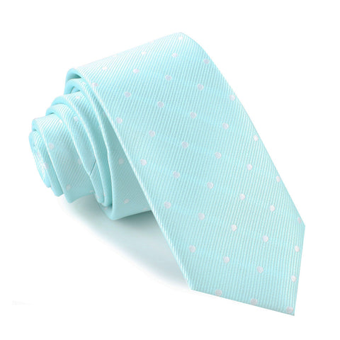 The OTAA Mint Blue with White Polka Dots Skinny Tie