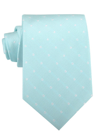 The OTAA Mint Blue with White Polka Dots Necktie