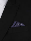 The OTAA Navy Blue Anchor Oxygen Three Point Pocket Square Fold