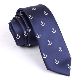 The OTAA Navy Blue Anchor Skinny Tie