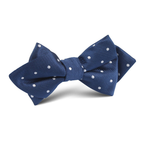 The OTAA Navy Blue with White Polka Dots Diamond Bow Tie